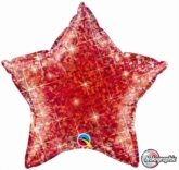 """Jewel Red 20"""" Holographic Star Foil Balloon Pkgd"""