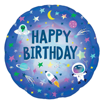 "Outer Space Birthday Holo Iridescent 18"" Foil Balloon"
