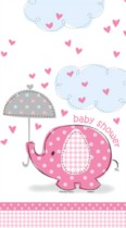 "54"" x 84"" Pink Umbrellaphants Plastic Tablecover"