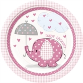 "8 Large Umbrellaphants Pink 9"" Paper Plates"