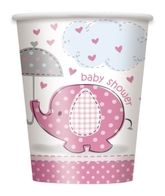 8 Umbrellaphants Pink 9oz Paper Cups