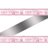 12ft Pink Umbrellaphants Baby Shower Foil Banner