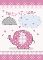 8 Umbrellaphants Pink Baby Shower Invitations