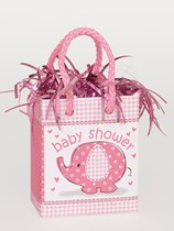 Pink Umbrellaphants Baby Shower Mini Gift Bag Balloon Weight