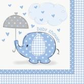 16 Umbrellaphants Blue Luncheon Napkins