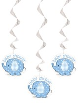 3 Umbrellaphants Blue Hanging Decorations