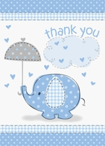 8 Umbrellaphants Blue Baby Shower Thank You Notes
