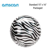 Zebra Print Orbz Foil Balloon