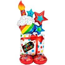 "AirLoonz Birthday Present Cake Stack 55"" Foil Balloon"