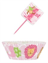 1st Birthday Pink Safari Cupcake Kit