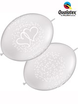 "Diamond Clear Entwined Hearts 12"" Quick Link Balloons 50pk"