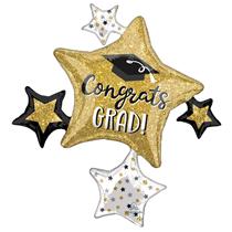 """Graduation Sparkle Cluster 23"""" Supershape Foil Balloon"""