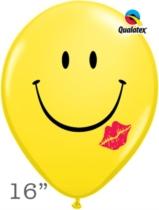 "Smiley Kiss Face 16"" Latex Balloons 50pk"