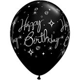 "Onyx Black Birthday Sparkles & Swirls 11"" Latex Balloons 6pk"