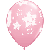 "Baby Moon & Stars 11"" Pink Latex Balloons 6pk"