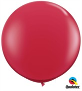 Ruby Red Round 3ft Latex Balloons 2pk