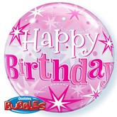 "Pink Happy Birthday Sparkle Bubble Balloon 22"""