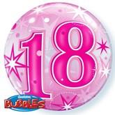 "Pink 18th Birthday Sparkle Bubble Balloon 22"""