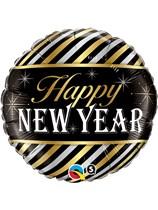 "Happy New Year Metallic Stripe 18"" Foil Balloon"