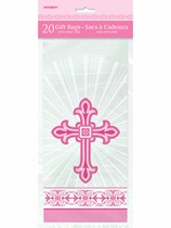Pink Radiant Cross Cello Bags 20pk