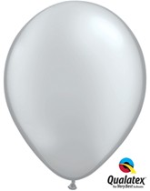 "11"" Metallic Silver Latex Balloons 100pk"