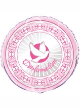 """Pink Radiant Cross Confirmation 18"""" Foil Balloon"""