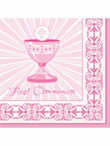 Pink Radiant Cross 1st Communion Luncheon Napkins 16pk