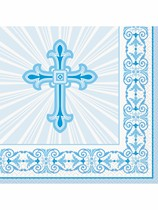 Blue Radiant Cross Luncheon Napkins 16pk