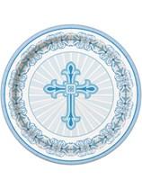 Blue Radiant Cross Paper Plates 8pk