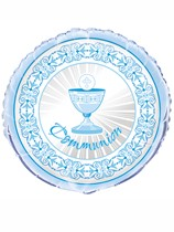 "Blue Radiant Cross Communion 18"" Foil Balloon"