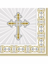 Golden Radiant Cross Luncheon Napkins 16pk