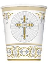 Golden Radiant Cross Paper Cups 8pk