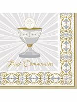 Golden Radiant Cross 1st Communion Luncheon Napkins 16pk