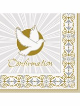 Golden Radiant Cross Confirmation Luncheon Napkins 16pk