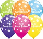 "Feliz Cumpleanos 11""  Tropical Big Polka Dots Latex Balloons 50pk"
