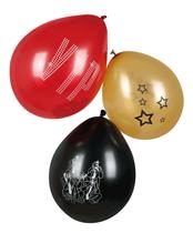 """Hollywood VIP Red, Gold & Black 9"""" Air Fill Latex Balloons 6pk"""