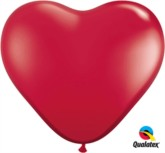 3ft Ruby Red Latex Heart Balloons 2pk