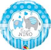 "Es Un Nino 18"" Blue Elephants Foil Balloon"