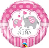 "Es Una Nina 18"" Pink Elephants Foil Balloon"