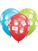 "Christmas Presents & Penguins 11"" Latex Balloons 25pk"