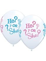 "He or She Baby Shower 11"" Latex Balloons 25pk"