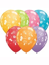 "Assorted Garden & Butterflies 11"" Latex Balloons 25pk"