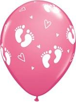 """Rose Baby Footprints & Hearts 11"""" Latex Balloons 25pk"""