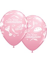 "Pink Communion Symbols 11"" Latex Balloons 25pk"