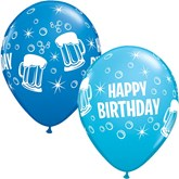 "Happy Birthday Beer Mugs 11"" Latex Balloons 25pk"