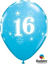"Age 16 Sparkle Robin's Egg Blue 11"" Latex Balloons 25pk"