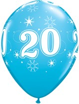"Age 20 Sparkle Robin's Egg Blue 11"" Latex Balloons 25pk"