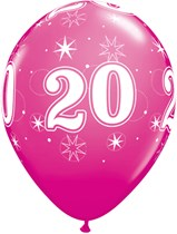 "Age 20 Sparkle Wild Berry 11"" Latex Balloons 25pk"