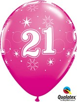 "Age 21 Sparkle Wild Berry 11"" Latex Balloons 25pk"