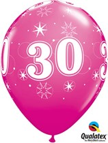 "Age 30 Sparkle Wild Berry 11"" Latex Balloons 25pk"
